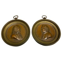 Pair of French Bronze Portrait Plaques of Voltaire & Rouseau, Signed Marie F