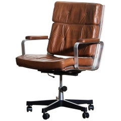 1970s, Brown Leather and Aluminum Desk Chair by Karl Erik Ekselius for Joc