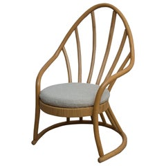 Rattan Cane Wingback Chair in Rare Peacock Shape 1970s