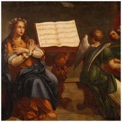 18th Century Oil on Canvas Italian Religious Saint Cecilia Painting, 1780