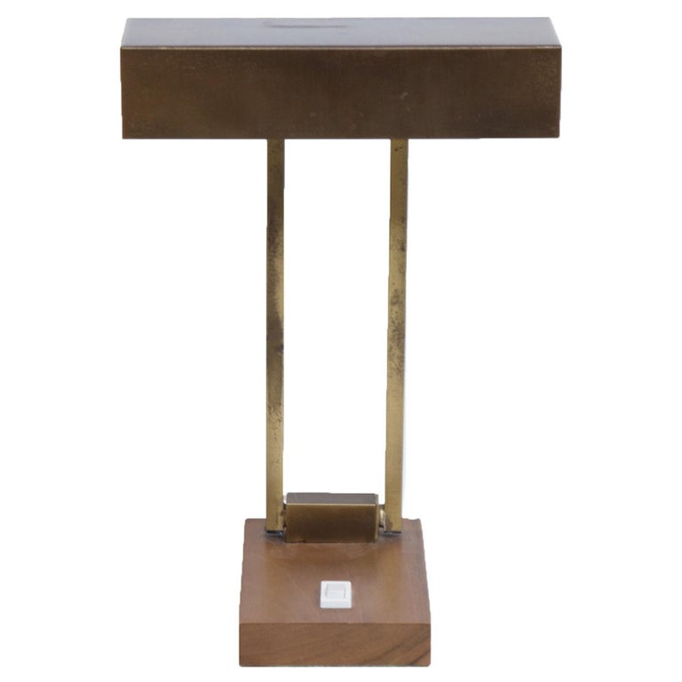 Adjustable Brass Table Lamp On a Brass Base, 1950s For Sale
