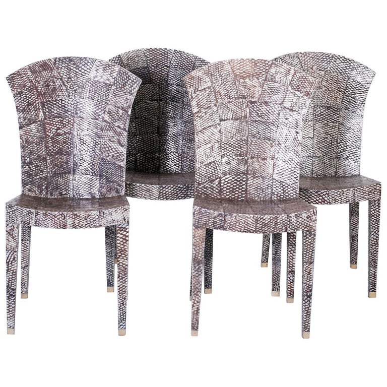 Set of Four Midcentury Shagreen Covered Dining Chairs For Sale