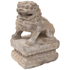 Chinese Carved Stone Temple Lion