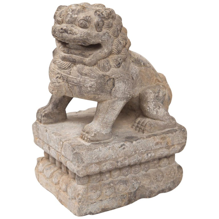 Chinese Carved Stone Temple Lion For Sale
