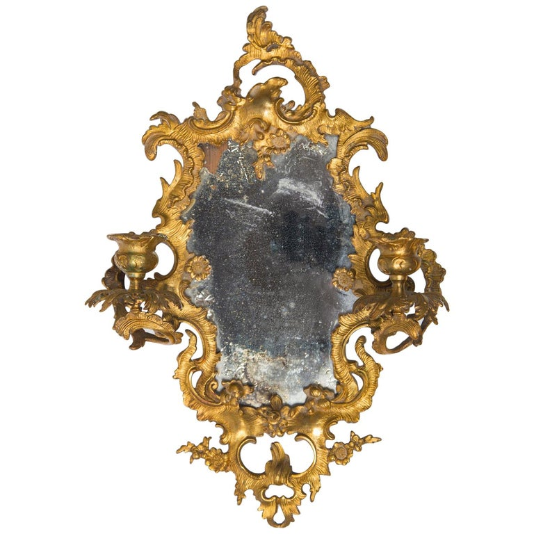 Pair of Gilt Medal Mirror/Sconces For Sale