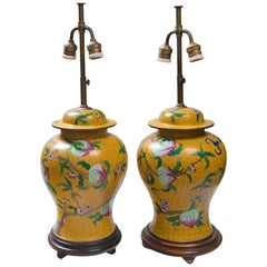 Pair of Chinese Yellow Ground Cloisonne Lamps