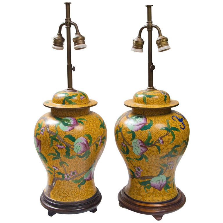 Pair of Chinese Yellow Ground Cloisonne Lamps For Sale