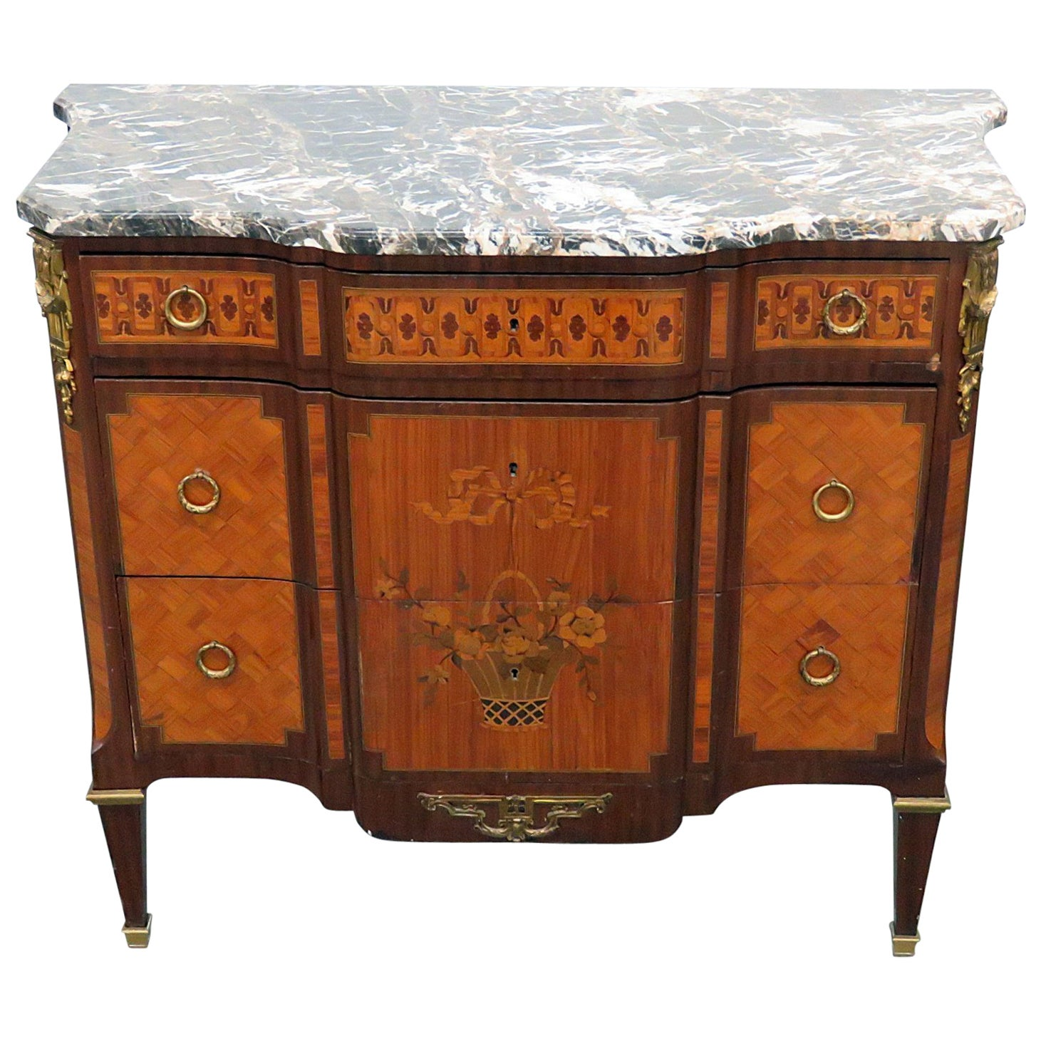 French Inlaid Satinwood Louis XVI Style Inlaid Marble Top Commode