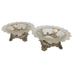 Pair of Antique Silver and Frosted Glass Decorative Compotes, 19th Century