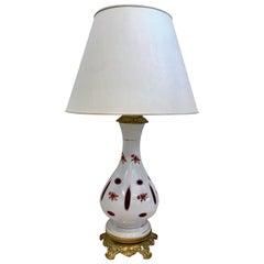 French Bohemian Opaline Glass Table Lamp