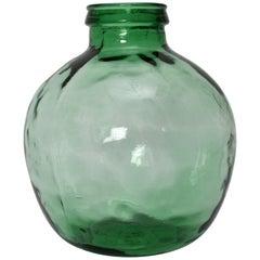 Green Handblown Vintage Glass Bottle Demijohn by Viresa, 1970s