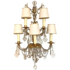 Pair of Handcut Crystal and Gilded Metal Five-Light Wall Scones Lights