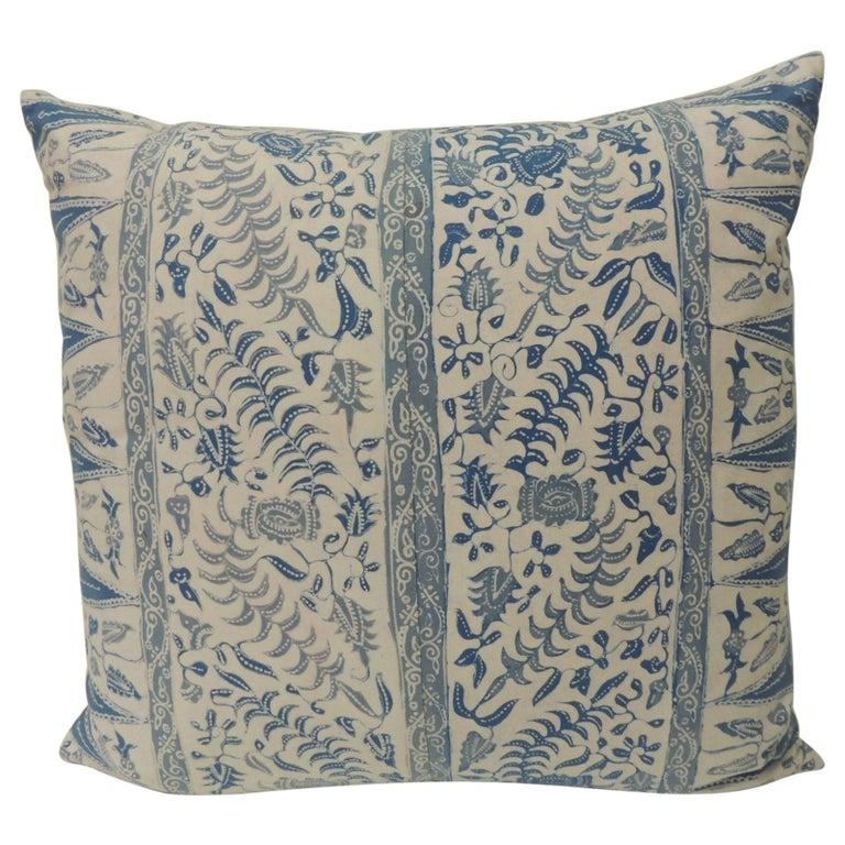 Vintage Batik Blue and White Square Decorative Pillow For Sale