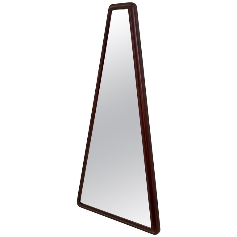 Midcentury Triangular Mirror with a Molded Solid Walnut Frame, Italy, 1960s For Sale