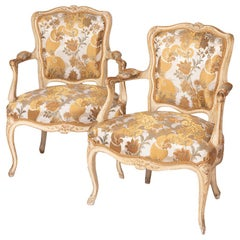 Pair of Louis XV Style Cabriolet Armchairs in Cream Lacquer, circa 1900