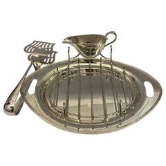 Rare Antique Silver Asparagus Serving Dish, 1920s