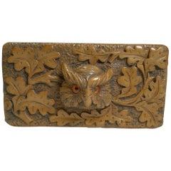 Antique Carved Black Forest Triple Postage Stamp Box, Owl, Glass Eyes