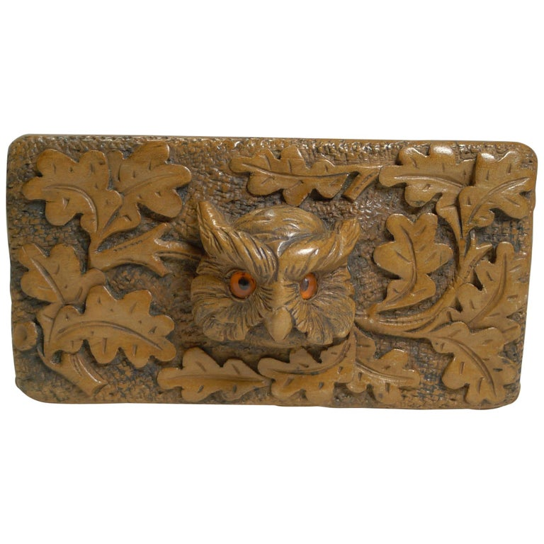 Antique Carved Black Forest Triple Postage Stamp Box, Owl, Glass Eyes For Sale