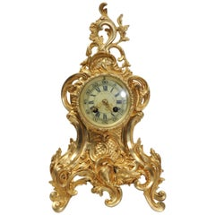 Antique French Gilt Bronze Rococo Clock, circa 1880