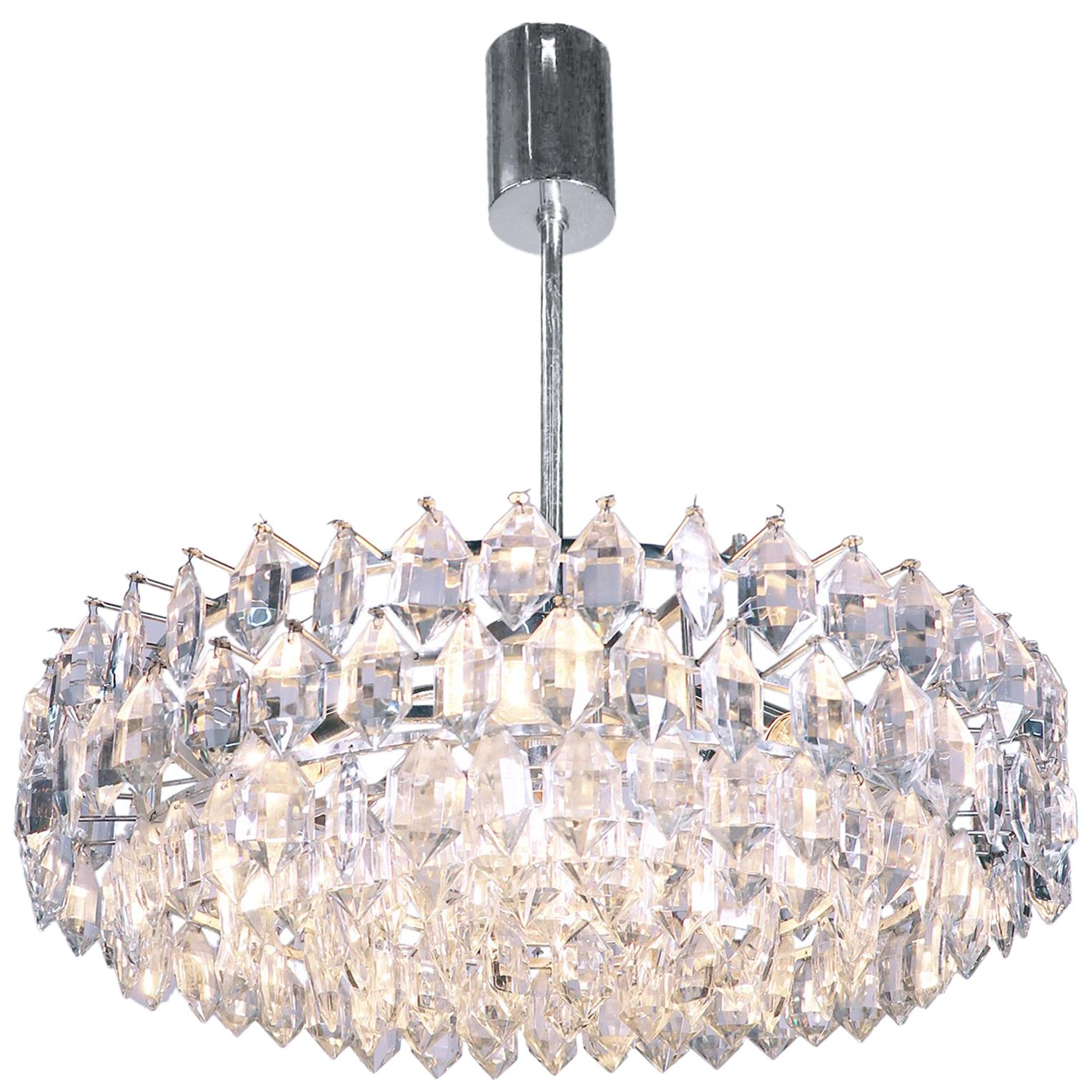 Vienna Lobmeyr / Bakalowits & Sons Large Chandelier Crystal & Silver Plated
