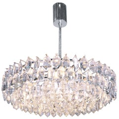 Large Silver Plated Crystal Chandelier by Lobmeyr, Bakalowits & Sons, Vienna