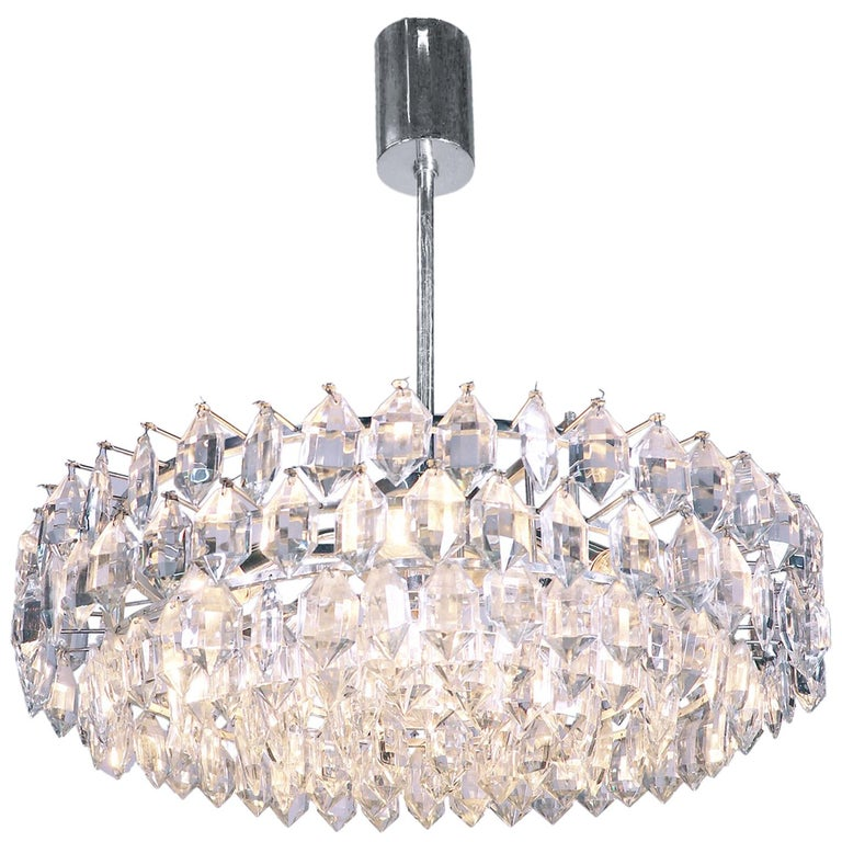 Large Silver Plated Crystal Chandelier by Lobmeyr / Bakalowits & Sons, Vienna For Sale