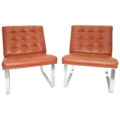 Moduline Leather Chairs with Steel Legs by Ole Gjerløv-Knudsen for France & Son