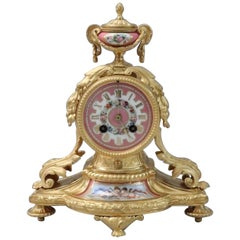 French 19th Century Bronze Gilt and Porcelain Mantel Clock
