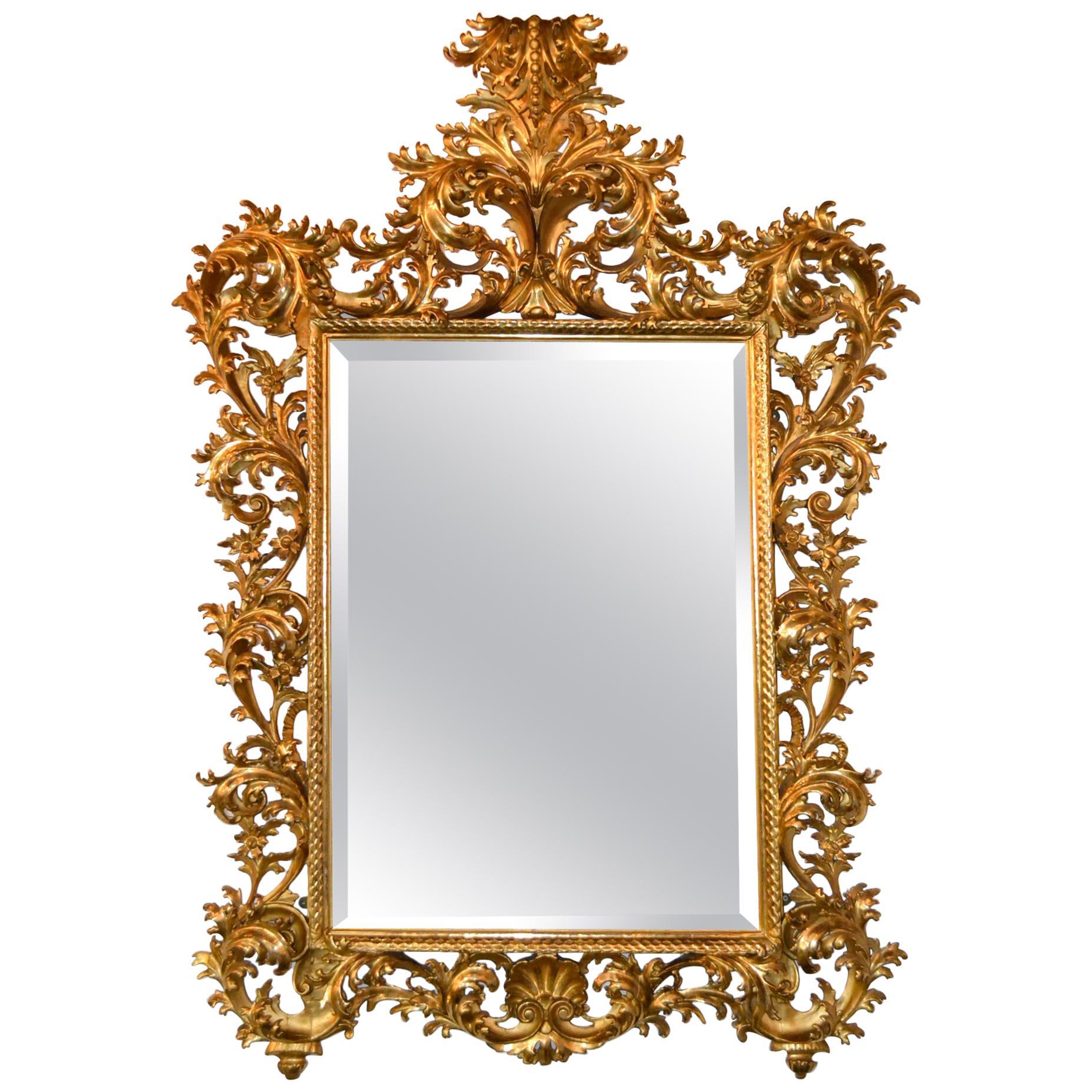 19th Century Italian Florentine Giltwood Mirror