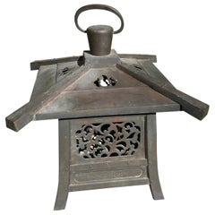 "Japan Fine Huge 22"" Antique Hand Cast Bronze Lantern with Exquisite Details"