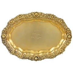 Chrysanthemum Silver Gilt Serving Tray by Tiffany & Co.