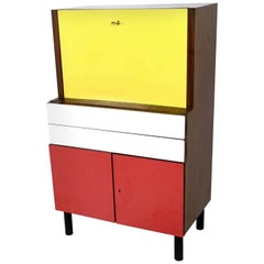 Midcentury Yellow, Red and White Formica Secretaire, Italy, 1950s