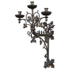 Large Gothic Revival Bronze & Brass Wall Candelabra/Candle Sconce with Gargoyle