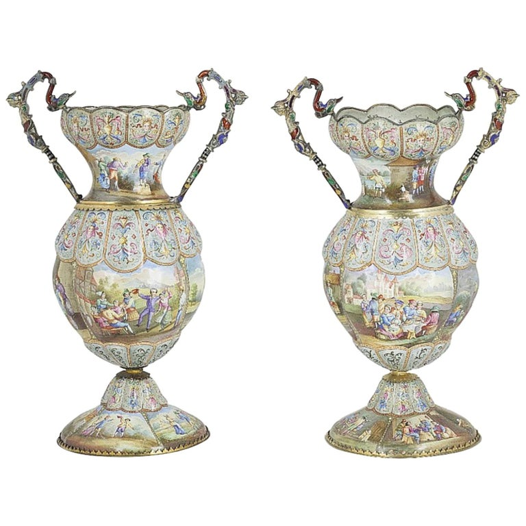 Exceptional Pair of Large Silver Mounted Viennese Enamel Vases by Rudolf Linke For Sale