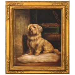 """Framed Portrait of Dog Titled """"Waiting for You"""""""