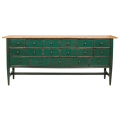 Green Painted English Sideboard, circa 1990s