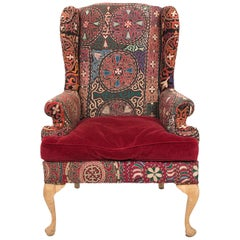 Red Indian Upholstered Wing Back Armchair, circa 1950