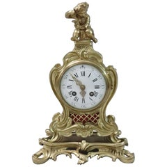 French 19th Century Brass and Gilt Rococo Style Mantel Clock