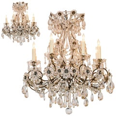 Pair of Italian Beaded Crystal Chandeliers