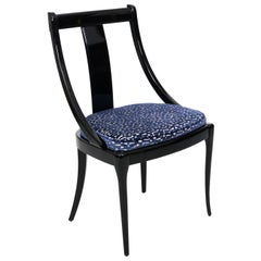 Black Lacquered Side Chair by Paco Capdell Sillala