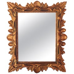 Monumental Baroque Gold Leaf Mirror with Ornate Carved Frame