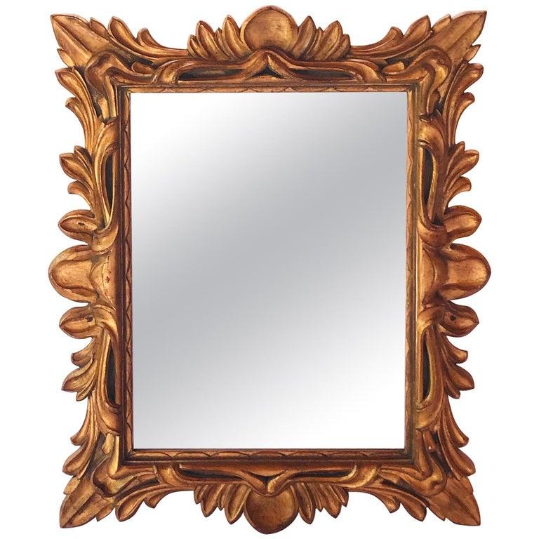 Monumental Baroque Gold Leaf Mirror with Ornate Carved Frame For Sale