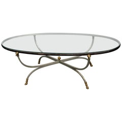 Maison Jansen Style Glass Top Coffee Table