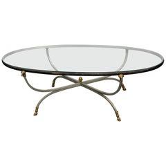 Maison Jansen Style Glass Top Coffee Table