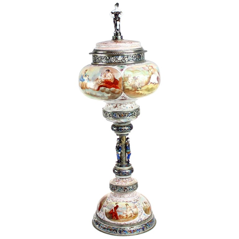 Magnificent Large Silver and Viennese Enamel Cup and Cover by Hermann Bohm, 1880 For Sale