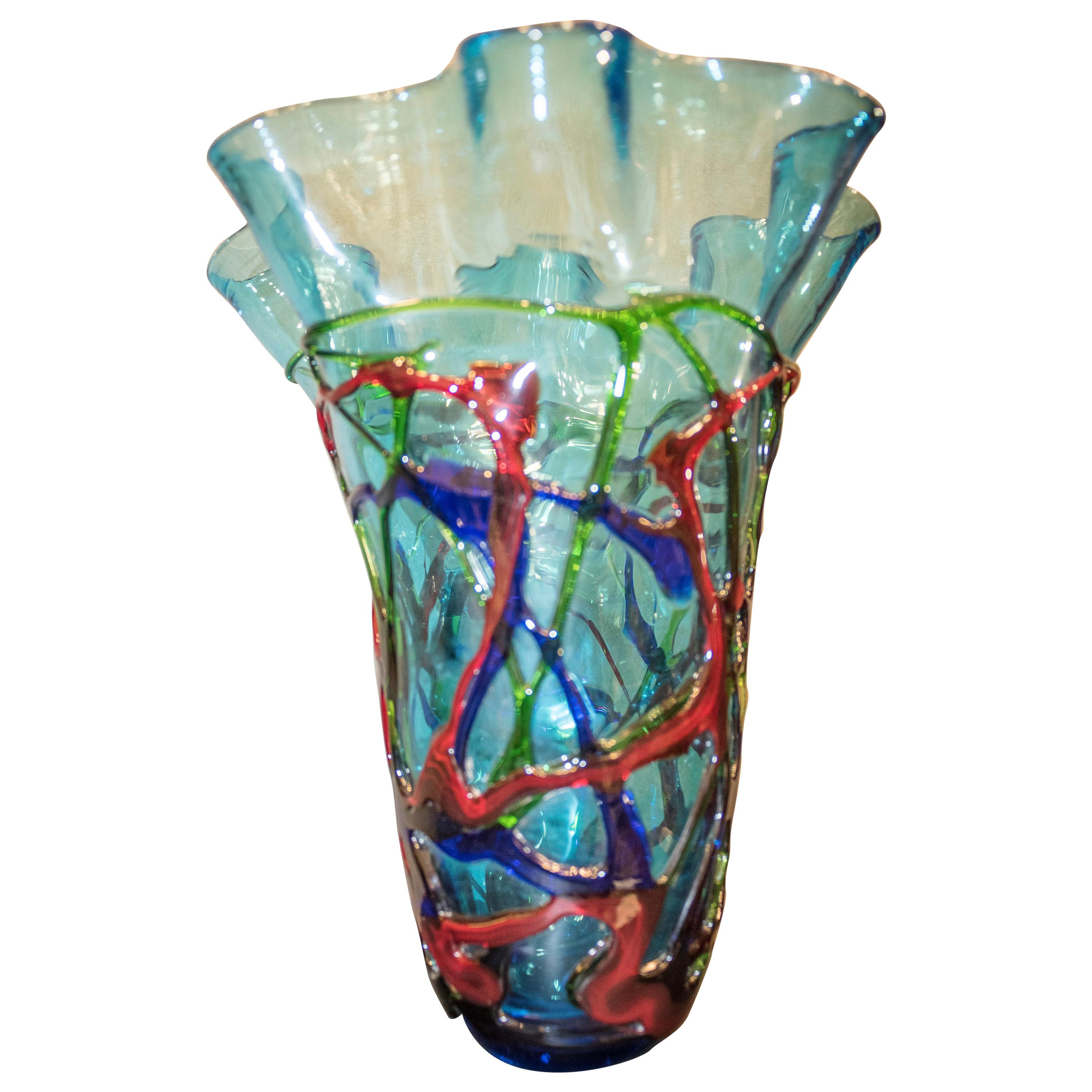 1970 Vase Red, Blue, Green Blowing Murano, Italy Crystal