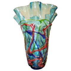 1970s Red, Blue, Green Blowing Murano, Italy Crystal