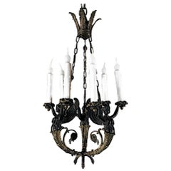 19th Century French Empire Bronze Chandelier