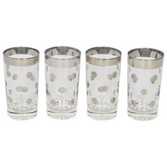 1960s Set of Four Dorothy Thorpe Barware Glasses with Polka Dot Design