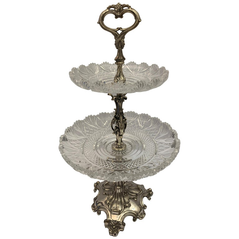 Large English Silver Plated Cake Stand, 19th Century For Sale